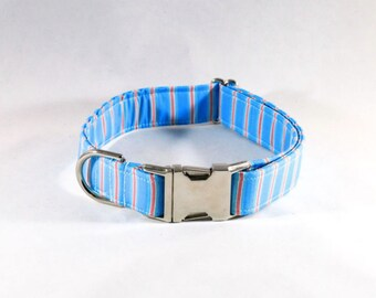 Preppy Aqua and Coral Seaside Dog Collar