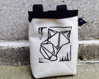 chalk bag, rock climbing chalkbag, chalkbags, linoprint, chalkbag, handcarved, blockprint, rock climbing, chalk bag, origami fox