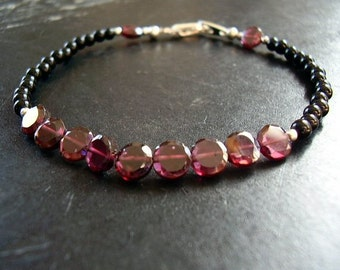 Genuine Rhodolite Pink Garnet & Black Onyx Bracelet - 6mm Faceted Disk Garnet Beads - 3mm Round Onyx Beads - January Birthstone Jewelry