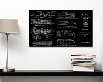 Vintage Print of ELCARUJO Runabout Diagram Line Drawing Schematic Blueprint on Matte Paper, Photo Paper or Stretched Canvas