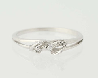 Diamond Promise Ring - 14k White Gold Three-Stone Size 6 1/2 - 6 3/4 Unique Engagement Ring N6020