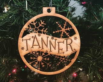 Tanner - Customizable Christmas Ornament - Engraved Birch Wood Ornament