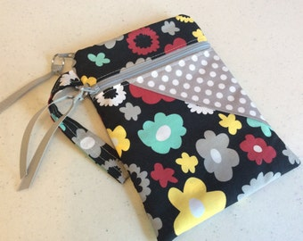 Ready to Ship IPhone Holder - iPhone Wristlet - iPhone Bag - iPhone Case - Floral on Black with Gray Dots