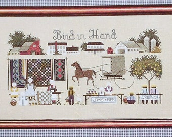 Marilyn Leavitt-Imblum   BIRD IN HAND   Amish Life   Told In A Garden   Counted Cross Stitch Pattern   Chart