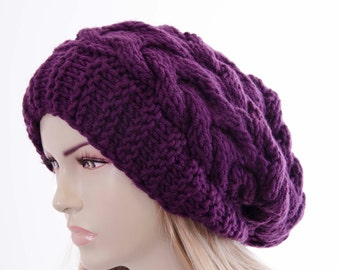 Slouchy beanie  oversized beanie hat winter knit hat for woman in purple  -Color Option  Available