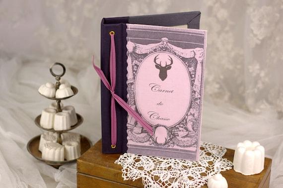 Hunting venery book very nice journal write in French  vintage pictures Deer hunting board for ladies
