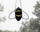 Bumble Bee Stained Glass Suncatcher, Window Decor, Decorative Bee, Yellow and Black Bee, Home & Living, Home Decor, Handmade Glass Bee Wings