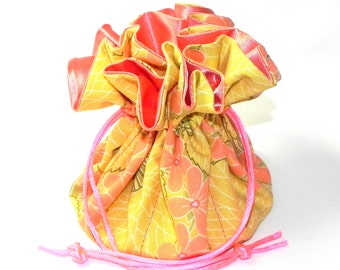 Jewelry Drawstring Travel Bag - Organizer Pouch - Orange, yellow and green floral