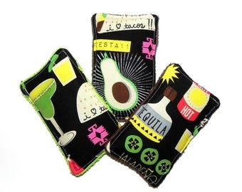 Unsponges - Set of 3 Kitchen, Shower or Bath reusable eco friendly sponges - Margarita, Tequila, Chili Peppers and Tacos