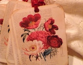 Poppies on a Book Page Shabby Chic Tags, Book Page and Dictionary Labels, Gift Tags, Party Favors, Package Embellishment, Red Jute, Set of 3