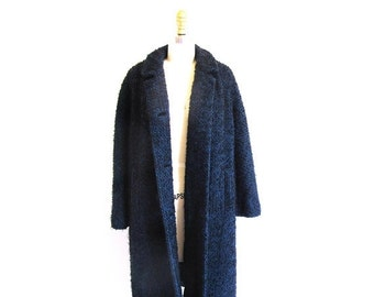 On sale Vintage 60s Black and Blue Coat, Jackie O Coat, 1960 Mohair Tweed Dress Length Coat, Union Label, Made in the USA