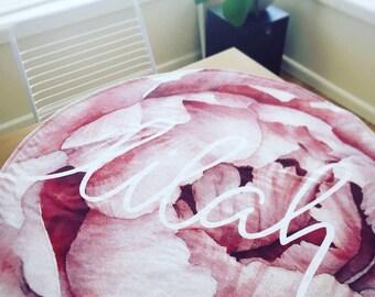 Round Baby Play Mat - Blush Pink Peony Rose Flower - Round - Baby Nursery - Play Mat - Baby Girl - Picnic mat - New Baby Gift - Newborn Gift
