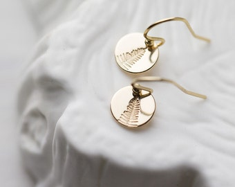 Tiny Leaf Earrings Gold Filled, Hand Stamped Jewelry Wife Gift for Her, Tree Earrings, Small Gold Dangle Earrings Handmade by Burnish