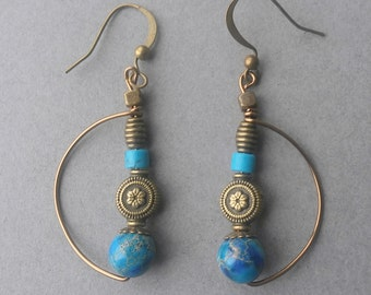 Imperial jasper semi circle hammered antiqued bronze wire earrings, turquoise embelishments LucidArts by Etsy