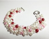 30% Off SALE thru Wedn Pearl Bracelet, Red Pink and White Bracelet, Mothers Day Christmas Gift, Mom Sister Bridesmaid Jewelry, Slightly Chun