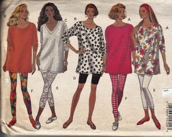 "Women's Sewing Pattern Leggins and Tunic Tops 1990's UNCUT Sizes L-XL 16-22 Bust 38-44"" Plus Size Butterick 6659"