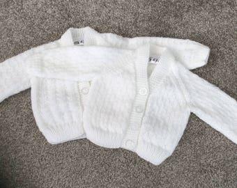 Babies White Cardigan 0-3 months