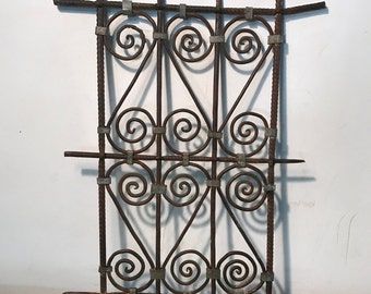 Vintage Moroccan wrought iron window shutter, reclaimed wrought iron panel, 70s wrought iron panel, Architectural salvage, Industrial Décor