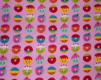 Kawaii Fabric - Dougnuts - Pink Fabric - Girl  Fabric - Cotton Fabric - Flannel Fabric - Baby Fabric