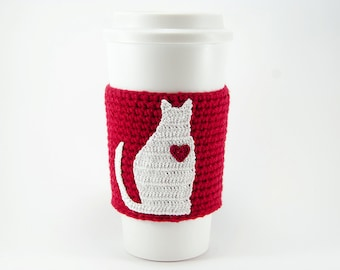 Crochet Cat Applique Pattern, DIY, Crochet cup sleeve, crochet coffee cozy, digital download