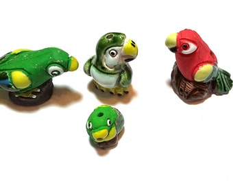 New 4 Red Green Parrot Bird Figurines Ceramic Beads