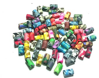 New 50 Polymer Clay Fimo Camouflage Military Army Beads