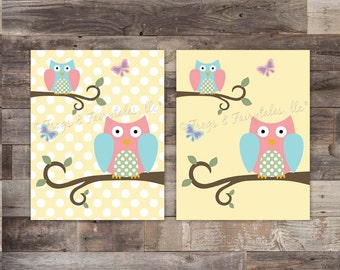 Owls and Butterflies Canvas Wall Art Print
