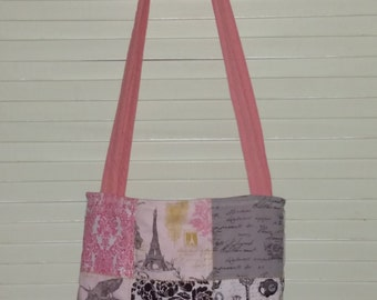 Shabby Chic Paris France Quilted Bag, Tote, Purse Pink, Black & Grey Magnetic Snap Closure 2 Inside Pockets boxed bottom