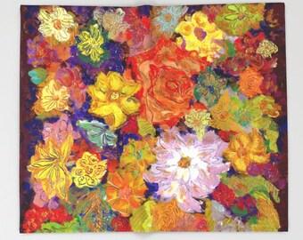 Autumn FLORAL Throw Blanket, Modern Bedding, Fleece Blanket, bedspread, vivid colors, artwork print, baby blanket, Colorful Flower Print