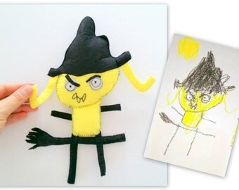 Toy From Your Kid's Drawing, Witch Personalized Gift for Kids, Totally Unique Present, Birthday Gifts for Everyone, Make It Special Gift