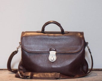 SALE Brown Leather Messenger Soft Briefcase by Bally