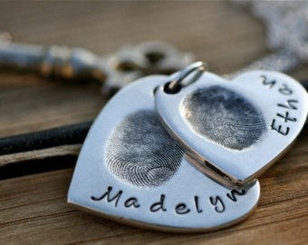 Fingerprint Heart Due Necklace