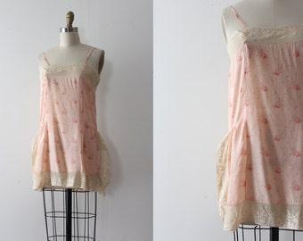 vintage 1920s slip // 20s pink floral silk slip