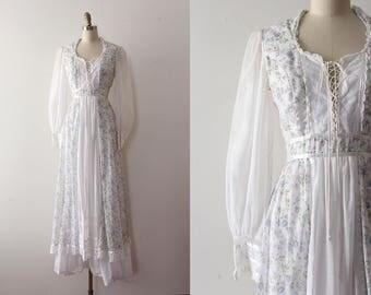 vintage Gunne Sax 1970s dress  // 70s designer blue floral peasant dress
