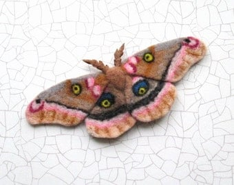 Felted wool Hand Felt Brooch Polyphemus Moth Felted Butterfly Gifts for her Birthday gifts  Girlfriend Gift Wife gift