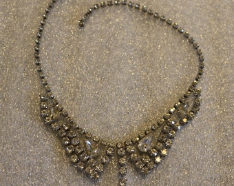 Rhinestone Vintage Necklace Collar Teardrop Clear Stones