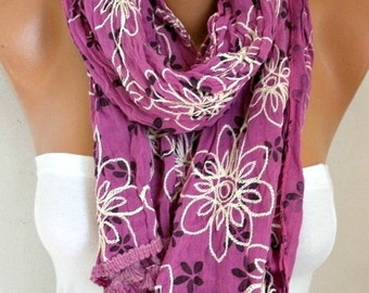 ON SALE --- ON Sale - Floral Scarf Teacher  Gift Shawl Cotton Summer Cowl Embroidered Scarf Gift Ideas For Her Women's Fashion Accessories