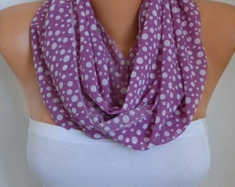 ON SALE --- Lavender & White Polka Dot Infinity Scarf Easter Gift Chiffon Circle Loop Scarf Gift Ideas for her Women Fashion Accessories