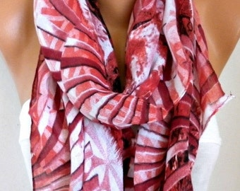 ON SALE --- Red & White Cotton Scarf, Fall Scarf, Cowl Scarf Oversize Shawl Gift Ideas For Her Women Fashion Accessories,Teacher Gift