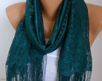 ON SALE --- Emerald Green Tulle Scarf, Wedding Scarf, Cowl Bridesmaid Bridal Accessories Gift Ideas for Her Women Fashion Accessories