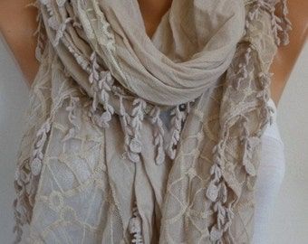 ON SALE --- Beige Cotton Lace Scarf,Wedding Shawl Scarf,Fall Cowl Scarf, Oversize,Christmas Gift,Women's Fashion Accessories