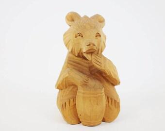 Vintage Wooden Bear Sculpture