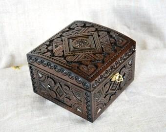 Ring box Jewelry ring box Wedding ring box Wooden box Jewelry wooden box Jewelry box with lock Box with key Wood box Jewelry organizer B39