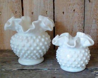 Milk Glass, Fenton Hobnail White Glass, Set of Milk Glass, Ruffled Vases, Small Vases, Collectible, Shabby Cottage Home decor