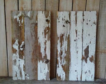 DIY Sign Boards, Two Reclaimed Rustic boards, Chippy White Paint Wood planks, Old Fencing, Rustic Home
