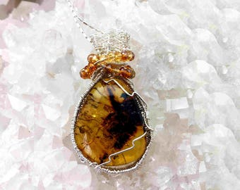 Reserved - Lovely Amber Pendant Necklace, With an Insect Within It -Handmade in the USA