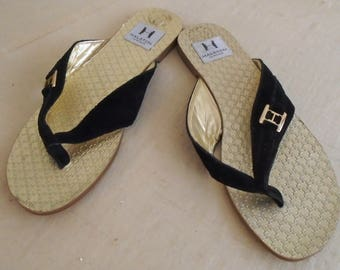 Vintage 1990s Thong Sandals Halston Heritage Black and Gold Size 7