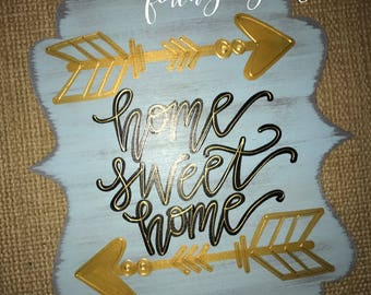gold arrows door hanger // home sweet home