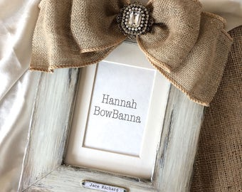 Picture Frame with Bow Wedding White Jewel Rustic Barn Country Beach Burlap Personalized Gift Name  Ivory Neutral Bling Wedding Prop Photo