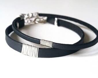 Sterling SILVER & Small Black LEATHER BRACELET—Custom Unisex Cuff Wristband [Bracelet Argent Cuir Noir—Pulsera Brazalete Plata Piel negra]